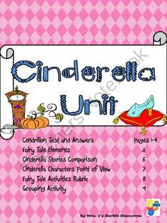 Cinderella Fairy Tale Unit from Mrs O on TeachersNotebook.com (11 pages)  - Use Cinderella Stories to compare and contrast characters!