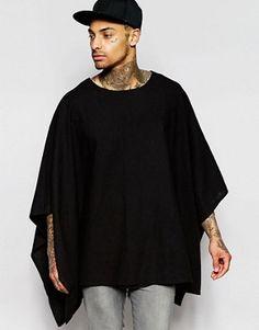 ASOS Drape Poncho in Black