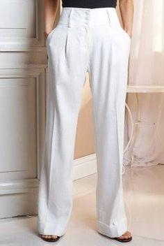 Resultado de imagem para camisa linho feminina Trouser Pants, Trousers Women, Pants For Women, Clothes For Women, Infinity Clothing, Slacks Outfit, Fashion Pants, Fashion Outfits, Style Feminin