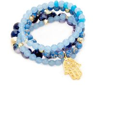 Good Charma Women's Hamsa Charm Bracelets ($179) ❤ liked on Polyvore featuring jewelry, bracelets, multi, hamsa jewelry, hamsa charm bracelet, hand of god jewelry, good charma and charm bracelet