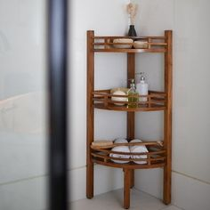 Freestanding Corner Shelf for Bathroom Made w/ Teak Wood in Brown 42'' H x 14.6'' W x 14.6'' D in
