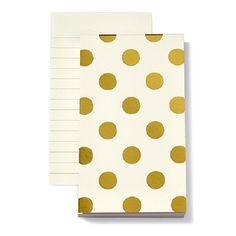 Kate Spade Small Notepad - Shiny Gold Dots | The TomKat Studio Shop
