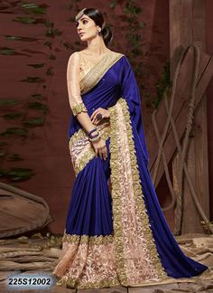 Aesthetic Blue Coloured Crushed Georgette Embroidered Saree
