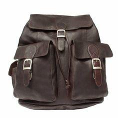 Amazon.com: Piel Leather Large Buckle-Flap Backpack, Black, One Size: Clothing