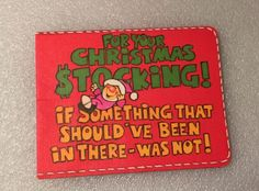Vtg Unused Christmas Stocking Card Money Santa Forgot Wallet Holder Greeting