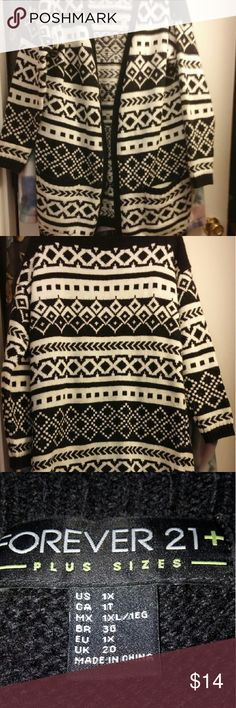 Forever 21 Long Cardigan Black and Ivory cardigan has two pockets and no front closure...says 1X but is more like an XL or L... Forever 21 Sweaters Cardigans