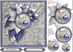 Blue Silver Baubles Leaves Pyramage on Craftsuprint designed by Sandie Burchell - Beautiful 7 inch square approx. Leaves Pyramage. Sentiments include: Merry Christmas or Blank for your own peel-off lettering or stamp. This design also has a matching insert sheet available - please see related sheets. To see other designs in this series please click on my name and enter leaves pyramage into my search box. Please take a look at my other designs by clicking on my name. - Now available for…