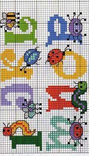 ♥ arquivo ponto cruz ♥: Alfabeto com JOANINHA, BIN e outros pequenos animais-KORSSTYGNSMÖNS