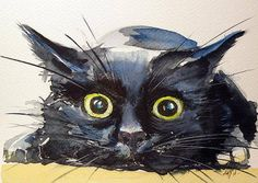 Black Cat Painting - Hunter Cat by Kovacs Anna Brigitta Watercolor Cat, Watercolor Animals, Watercolour Painting, Watercolours, Drawn Art, Cat Art Print, Photo Chat, Animal Paintings, Crazy Cats