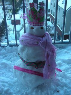 A Lilly Pulitzer snowman--the Pelican Girls love being colorful even when it's cold!