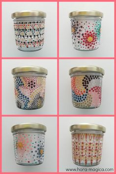 Recicla: Diseños e ideas para pintar tarros de vidrio Diy And Crafts, Arts And Crafts, Dot Painting, Bottle Crafts, Lampwork Beads, Tea Lights, Decoupage, Tableware, Projects