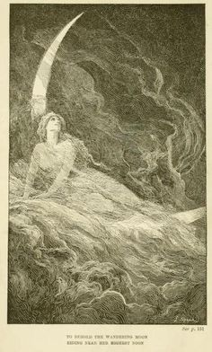 The blue poetry book (1912)illustrations by Henry Justice Ford & Lancelot SpeedTo behold the wandering moonriding near her highest noon. This is by Lancelot Speed as you can see in the corner.