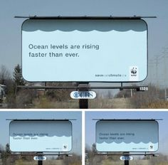WWF uses an awning to cast a shadow over a billboard, to create the illusion of a sea level that rises during the day.
