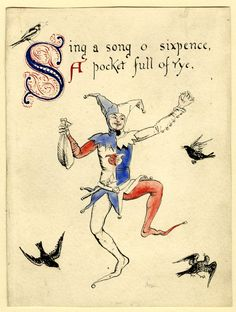 "Sing a song of sixpence"", illustration to a nursery rhyme, 1865; jester surrounded by blackbirds Pen and black ink, with watercolour Walter Crane"
