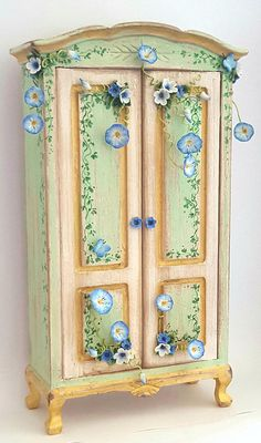 1:12 scale dollhouse romantic wardrobe with delicate flowers and morning glories