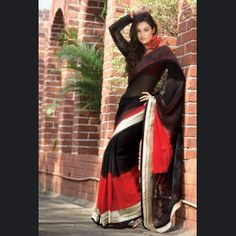 Fancy Black & Red Embroidered Saree      Color: Black, Red  Fabric: Chiffon  Work: Lace and Resham Work