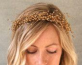 rose gold baby's breath hair wreath