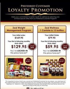 If you've been wanting to order your Zeal but just haven't gotten around to it now's the time! Get 12 singles free with your order EVERY month on the loyalty program between now and April 30th! If you would like information on how to get yours free email me nancyv.zealforlife.com