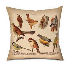 "BIRDS Pillow Cover- Fits 18"" pillow by OsoAndBean. All natural fabrics, limited edition designs, all handmade in the USA! ©2014 gomodesign, inc & Oso and Bean"