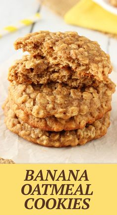 These Moist and Chewy Banana Oatmeal Cookies are hands down the best banana flavored cookie I've ever had. Moist & chewy for days and unmistakably banana-y! Healthy Oatmeal Cookies, Oat Cookies, Oatmeal Cookie Recipes, Oatmeal Chocolate Chip Cookies, Banana Cookie Recipe, Delicious Desserts, Dessert Recipes, Diabetic Desserts, Diabetic Recipes