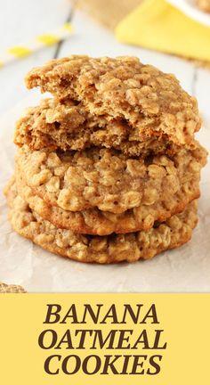 Healthy Oatmeal Cookies, Oatmeal Cookie Recipes, Oatmeal Chocolate Chip Cookies, Easy Cookie Recipes, Banana Cookie Recipe, Healthy Sweets, Healthy Food, Healthy Breakfasts, Eating Healthy