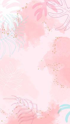 Download premium vector of Pink leafy watercolor background vector 1222742
