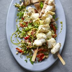 Joe Wicks Lean in part two: Monkfish kebabs with tabbouleh Lunch Recipes, Seafood Recipes, Cooking Recipes, Healthy Recipes, Joe Wicks Lean In 15, Joe Wicks Recipes, Joe Wicks The Body Coach, Clean Eating, Healthy Eating