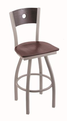 30''H, 360° Swivel barstool, Features include:, Anodized Nickel finish frame, Dark Cherry Oak finish back, Dark Cherry Oak finish seat, Solid welded frame, Finished with a epoxy-polyester powder coat, providing a durable, long lasting finish, Made with commercial quality, plating grade steel, Flood glides prevent floor scratching, Rated for up to 350 lbs., Made in The USA, 5 Year Residential Structural Frame Warranty. Lifetime warranty on swivel