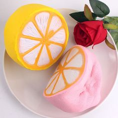 11cm Jumbo Squishy Half Lemon Fruit Scented Kid Fun Toy Gift Cell Phone Strap Pendant Random Color