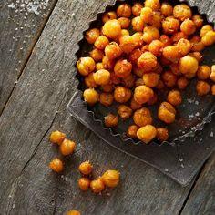 Roasted Chickpeas with Chickpeas, Olive Oil, Kosher Salt, Smoked Paprika, Garlic Powder.