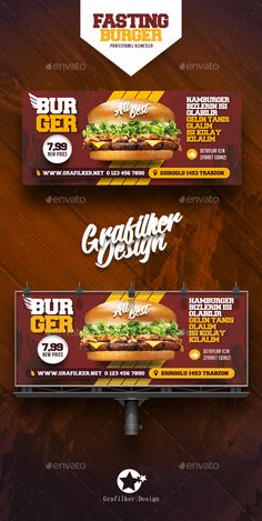 Fast Food Burger Billboard Templates by grafilker Fast Food Burger Billboard Templates Fully layeredINDDFully layeredPSD300 Dpi, CMYKIDML format openIndesign CS4 or laterCompletely