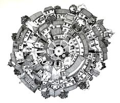 Ilustrações que desafiam a realidade arquitetônica,La Aldea Circular. Image Courtesy of Juan Luis López