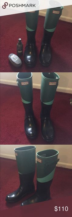 Hunter rainboots with boot shine and buffer Hunter rainboots- has been in closet for a while. Hunter Boots Shoes Winter & Rain Boots