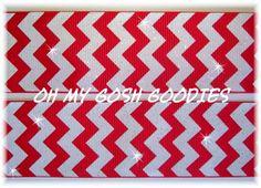 Glitter Peppermint White / Red Chevron Ribbon
