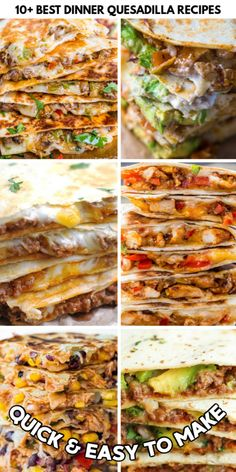 10  BEST DINNER QUESADILLA RECIPES Mexican Dishes, Mexican Food Recipes, Vegan Recipes, Cooking Recipes, Mexican Meals, Vegan Food, Easy Recipes, Ethnic Recipes, Best Quesadilla Recipe