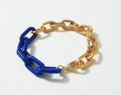 Cupy Cuff Navy Blue Gold Chain Bracelet - Papika Pa (Etsy)