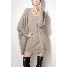 Yoins Oversized Batwing Sleeve Jumper (48 CAD) ❤ liked on Polyvore featuring tops, sweaters, khaki, sweaters & cardigans, jumpers sweaters, khaki sweater, brown sweater, jumper top and khaki jumper