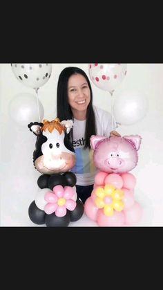 Balloon Centerpieces, Balloon Decorations, Balloon Stands, Unisex Baby Shower, Farm Animal Birthday, Balloon Crafts, Building For Kids, Balloon Animals, Baby Shower Balloons