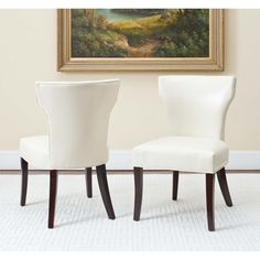 Safavieh Matty Cream Bi-cast Leather Side Chairs (Set of 2)   Overstock.com Shopping - Great Deals on Safavieh Dining Chairs