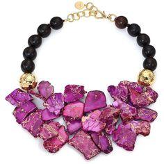 Nest Purple Jasper & Ebony Wood Beaded Bib Necklace (566 CAD) ❤ liked on Polyvore featuring jewelry, necklaces, apparel & accessories, purple jasper, purple bib necklace, wooden bead jewelry, wood bead jewelry, hammered jewelry and bib necklace