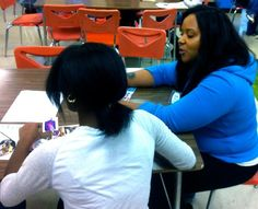 Mentor and student working on their identity map.