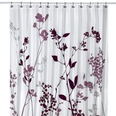 Reflections Purple Fabric Shower Curtain - BedBathandBeyond.com.  The purple bathroom's shower curtain is similar to this.