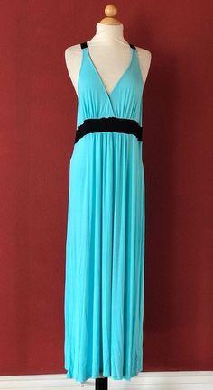 NICOLE MILLER Turquoise Blue Raceback Maxi Dress Size L #NicoleMiller #Maxi #Casual
