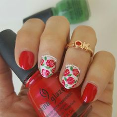 "هذه #أظافر اليوم  Red Roses Nails using China Glaze in ""Vermillion"" and ""Starboard"""