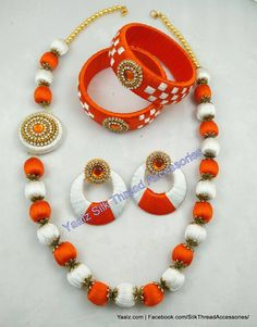 Silk Thread Bangles, Thread Jewellery, Diy Jewelry Making, Jewelry Patterns, Beaded Necklace, Jewels, Chicken, Earrings, How To Make