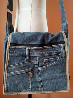 LOVE THIS IDEA Messenger Design Up cycled Recycled Denim Bag Purse