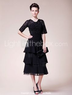 A-line Jewel Tea-length Chiffon Mother of the Bride Dress -- I love the style and the lace