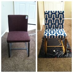 6 dollar Goodwill chair: 1) take apart  strip off old fabric cover 2) cut new fabric to size leaving 3-4 inches on each side to wrap to the back 3) use staple gun to secure fabric4)cut out fabric for backing-staple  cover staples by hot gluing ribbon over them.ribbon should appear as a clean cut square on the back of chair 5) paint legs  allow to dry.reassemble chair.Buy a spray paint that is meant to be used on metal if the legs are made out of metal--otherwise paint will peel.