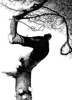 The Art of Jamie Hewlett Black And White Tree, Black And White Drawing, Ink Illustrations, Illustration Art, Jamie Hewlett Art, Knight Art, Art Graphique, Gravure, Ink Art