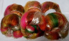 Spinning  fibre batts -Coopworth, unbleached tussah silk, Local Leicester Long Wool by YummyYarnsUK, £13.60